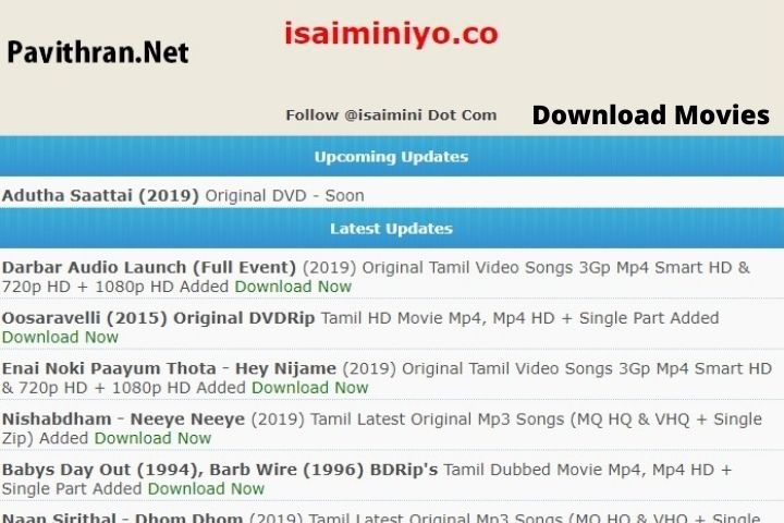 Isaimini | Download Latest Tamil Movies | Proxy Unblock (Updated 2021 )