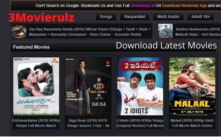 3Movierulz | Download Latest Tamil, Telugu, Hindi And Malayalam Movies For Free | Updated(2021)